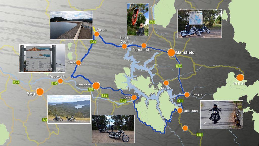 Map of Lake Eildon ride