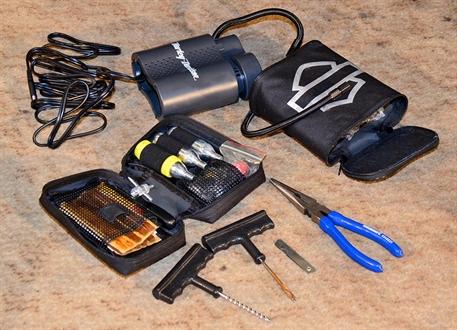 Tire repair kit and Harley-Davidson 12V portable air compressor