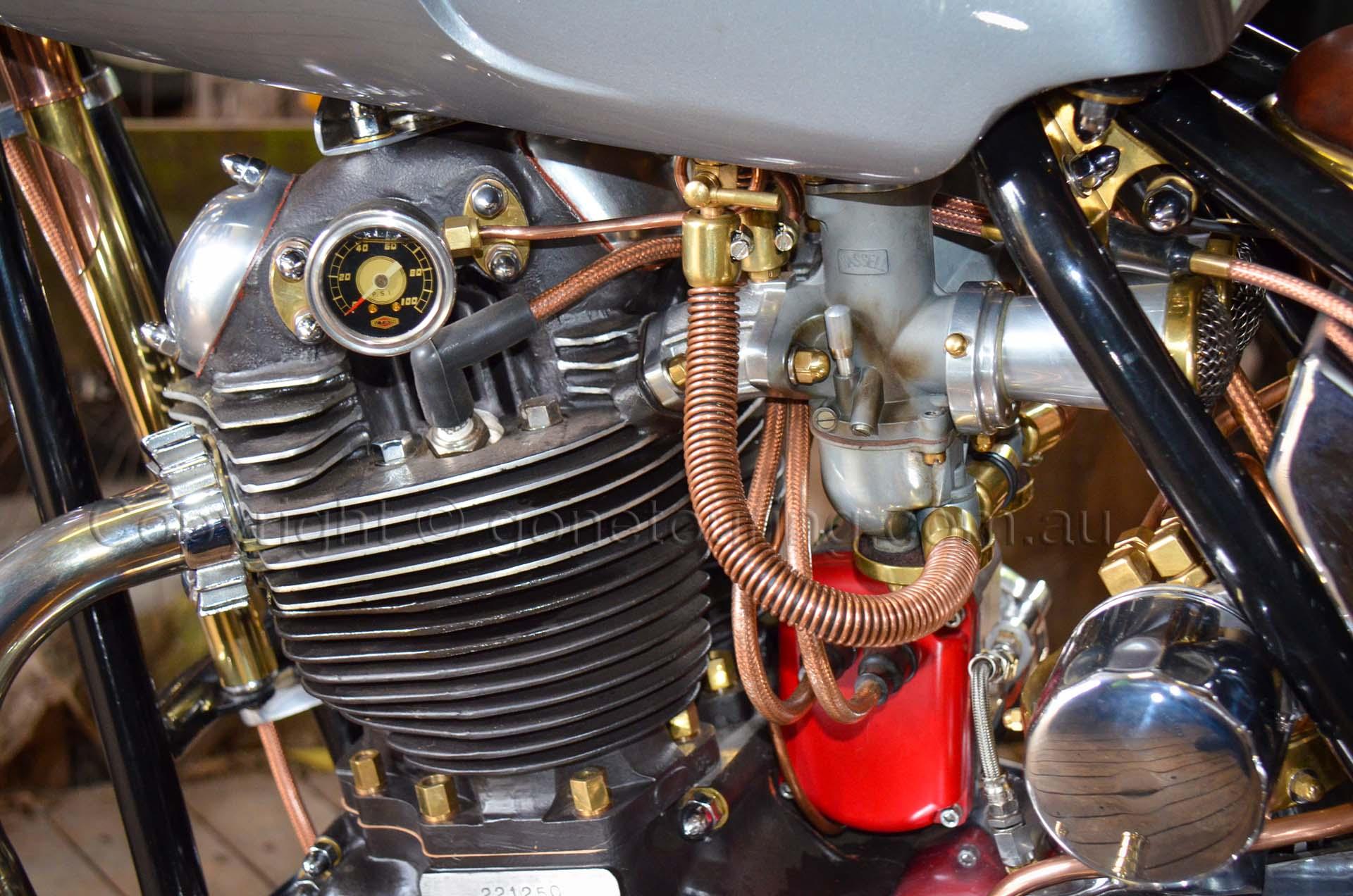 The custom 750cc Norton Commando Engine