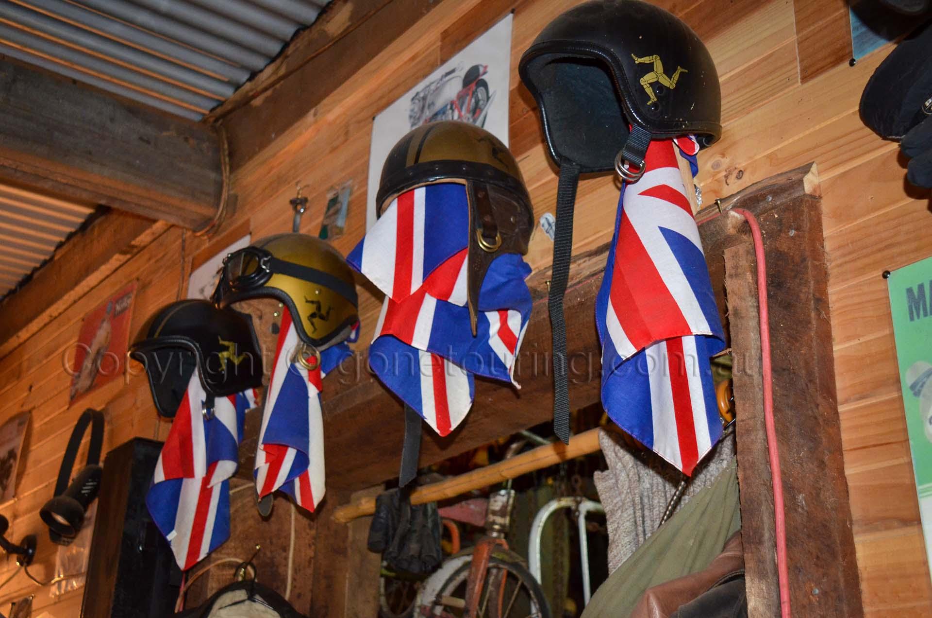 Isle of Man Norton Roadster helmets